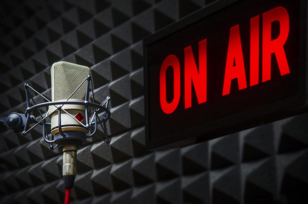 On air sign in radio studio