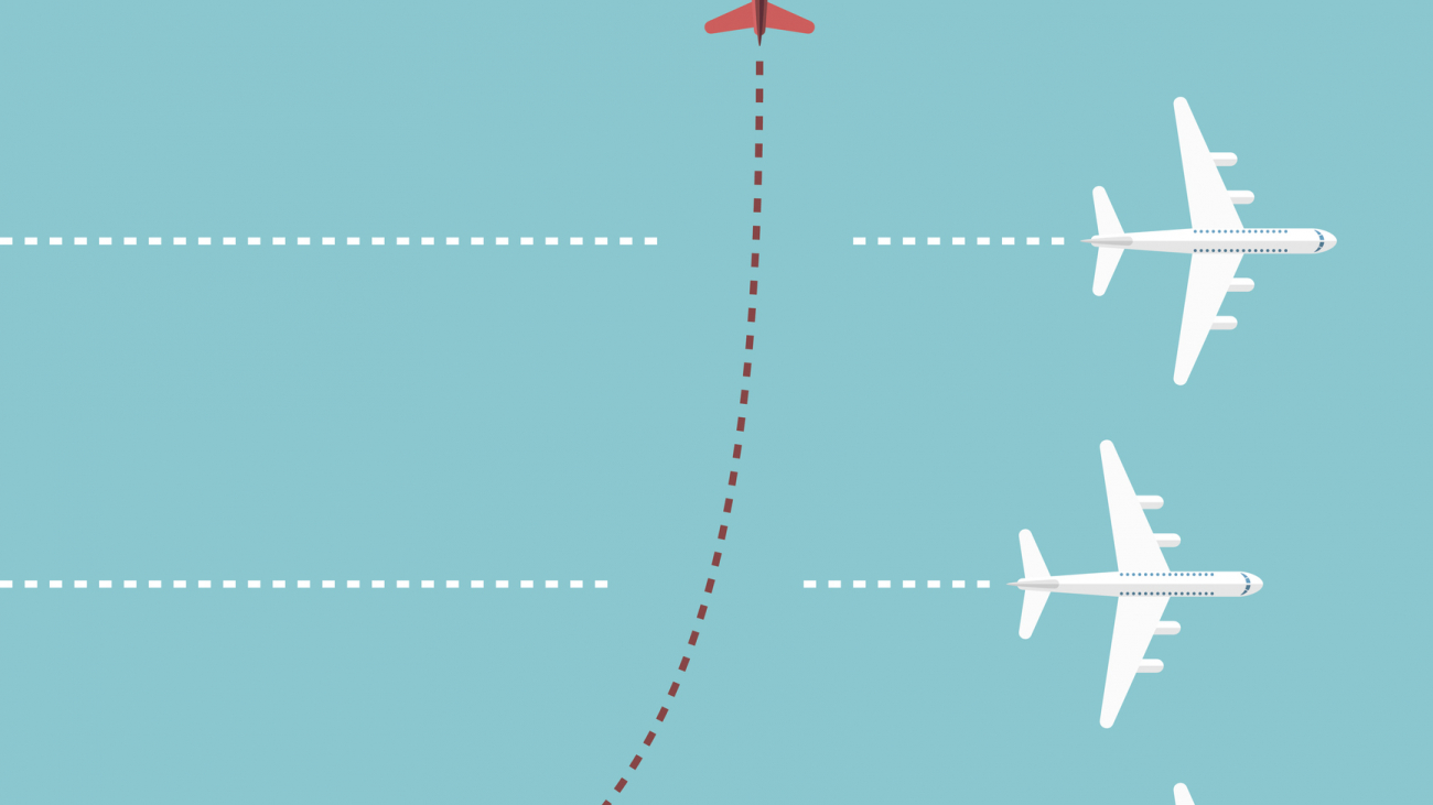 Red airplane changing direction and three white ones. New idea, change, trend, courage, creative solution, innovation and unique way concept. EPS 8 vector illustration, no transparency