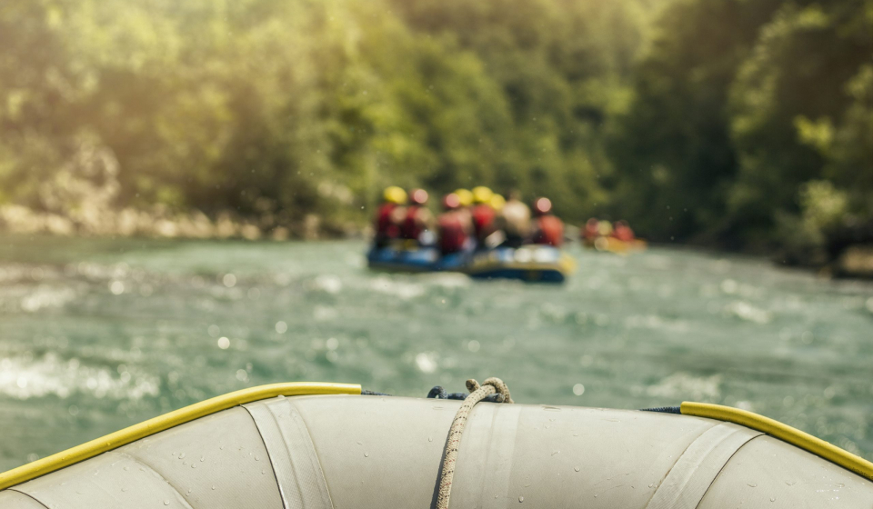 Rafting, boat trip. Front view with sunligh